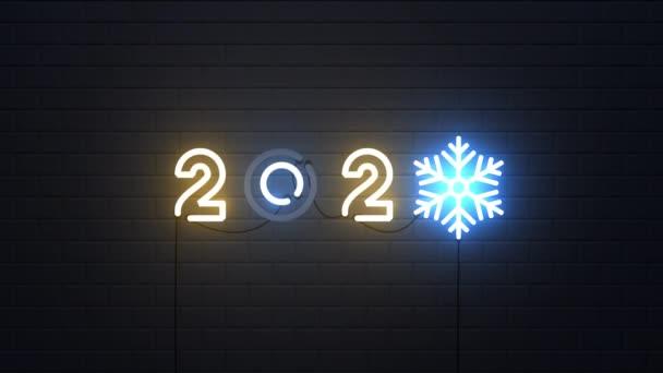 Šťastný Nový rok 2020 neon znamení pozadí, Nový rok koncept
