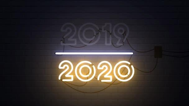 Frohes neues Jahr 2020 Leuchtreklame Hintergrund, Neujahrskonzept