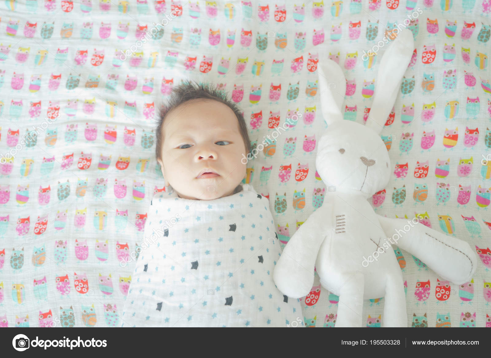 Cute Adorable Newborn Baby Boy Wrapped Swaddle Blanket Sleeping