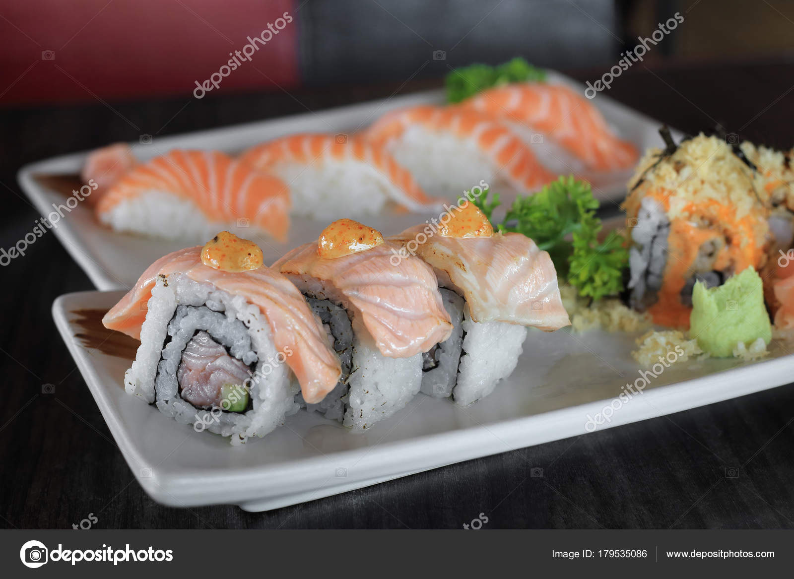 Grilled salmon sushi roll japanese food recipe stock photo grilled salmon sushi roll japanese food recipe stock photo forumfinder Images