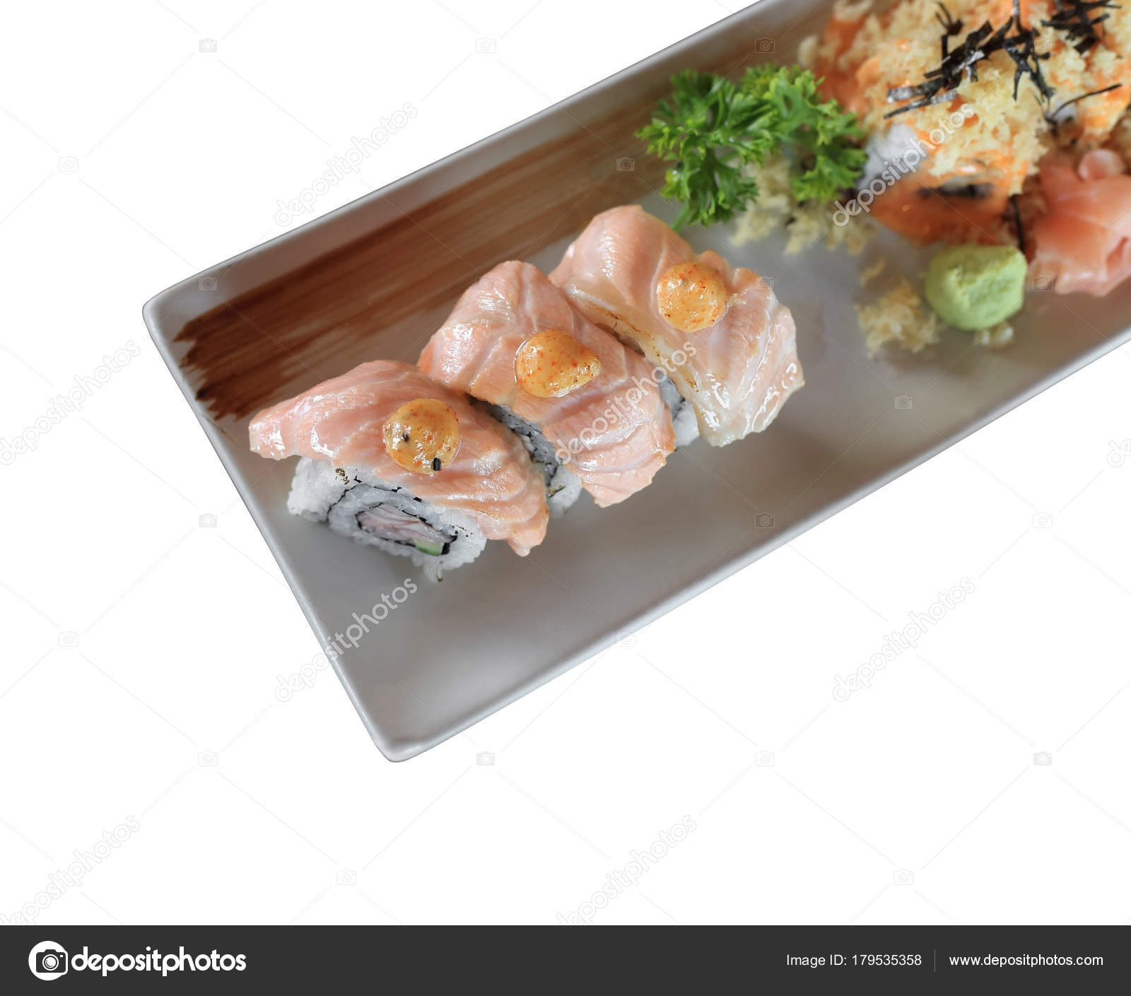 Grilled salmon sushi roll japanese food recipe isolated on white grilled salmon sushi roll japanese food recipe isolated on white background stock photo forumfinder Images