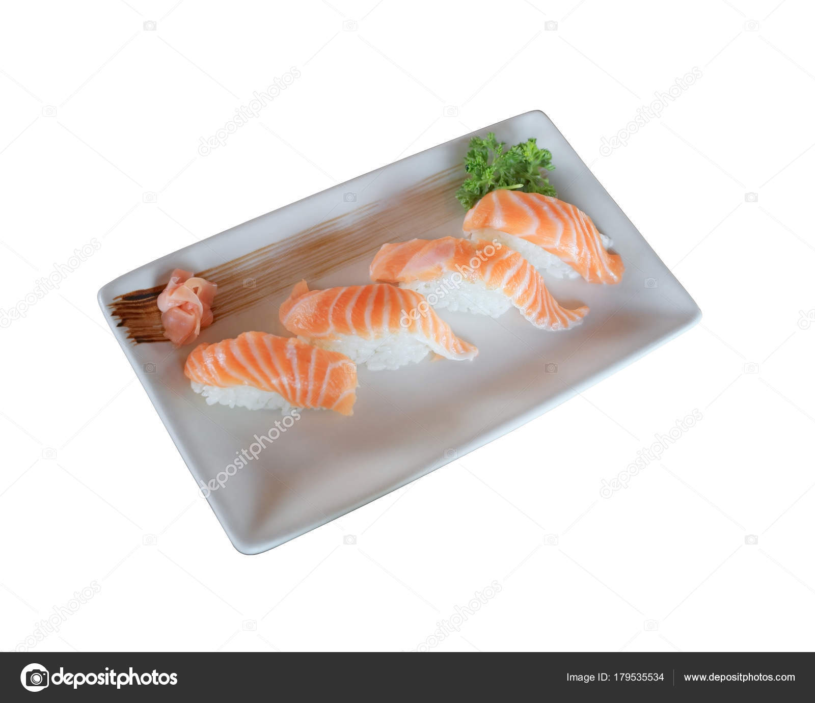 Raw Salmon Nigiri Sushi Dish Isolated On White Background With Clipping Path Stock Photo Image By C Enrouteksm 179535534