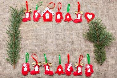 Christmas decorations on a burlap