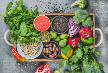 Healthy food in rustic tray