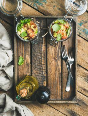 Quinoa salad in jars