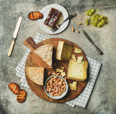cheese platter with cheese assortment