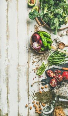 Winter vegetarian, vegan food cooking ingredients. stock vector