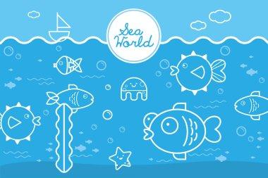 Undersea: Cartoon illustration of underwater world with fishes.
