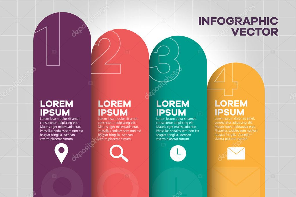 Simple Vector Numbered List Template Decorated Elementary Infographics Layout With Sample Text And Icons