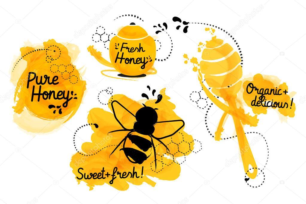 Honig-Etiketten. Essen-Vorlage für Ihr Design mit Faß Honig mit ...