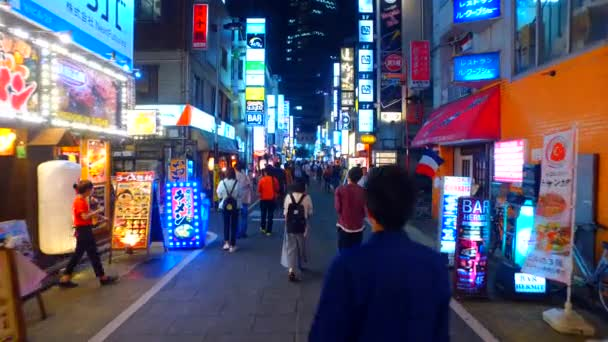 Tokyo, Japan - September 19, 2017 :Nightlife district of west Shinjuku in Tokyo Japan at night.Both sides of alley are lined with izakaya bars and restaurants.