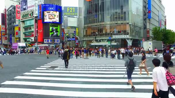 Tokyo, Japan - September 27, 2017 :Tracking shot of scramble crossing in Shibuya Tokyo Japan.Shibuya crossing is the busiest intersection in the world.