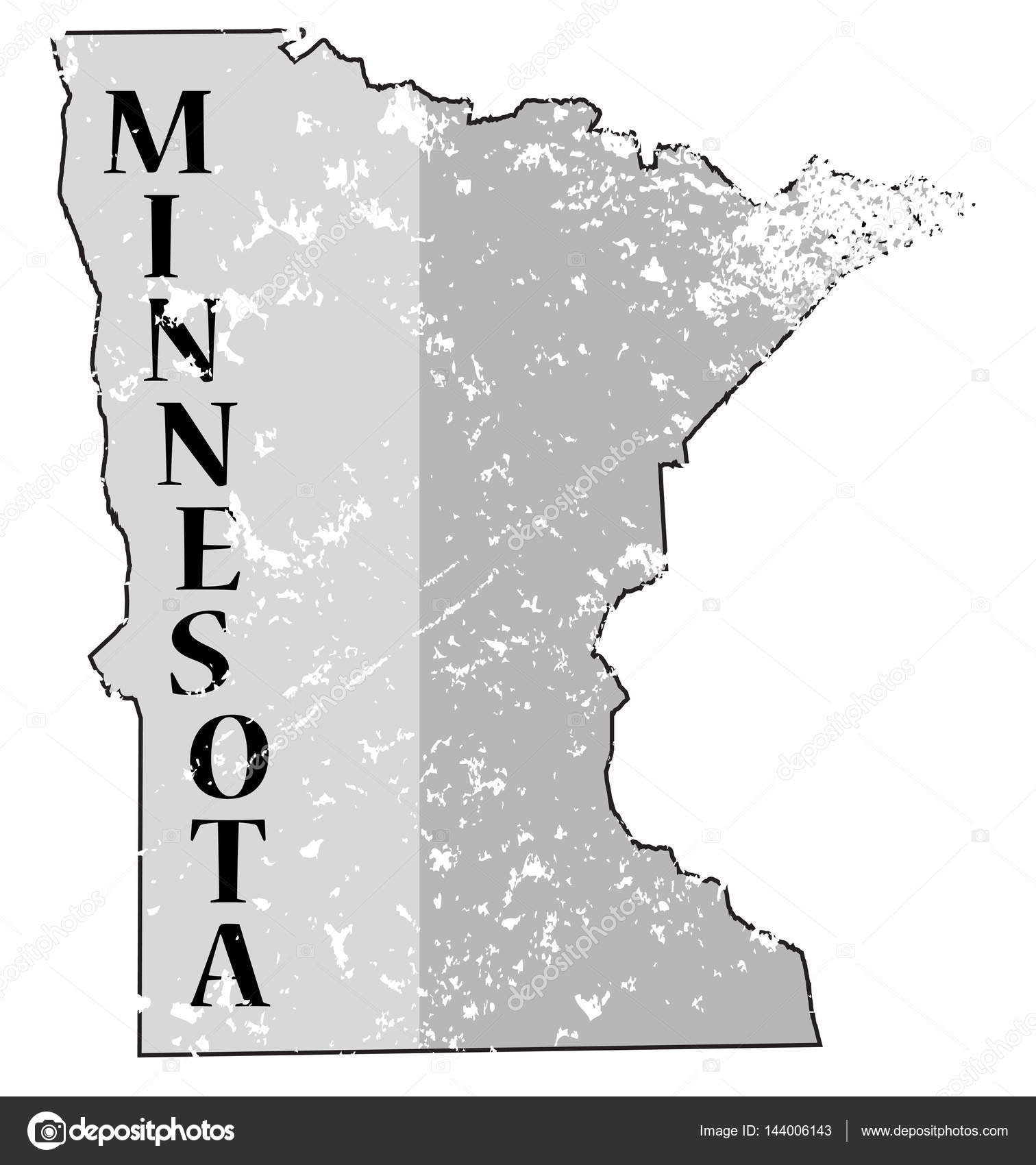 Estado de Minnesota y fecha mapa Grunged — Vector de stock ...