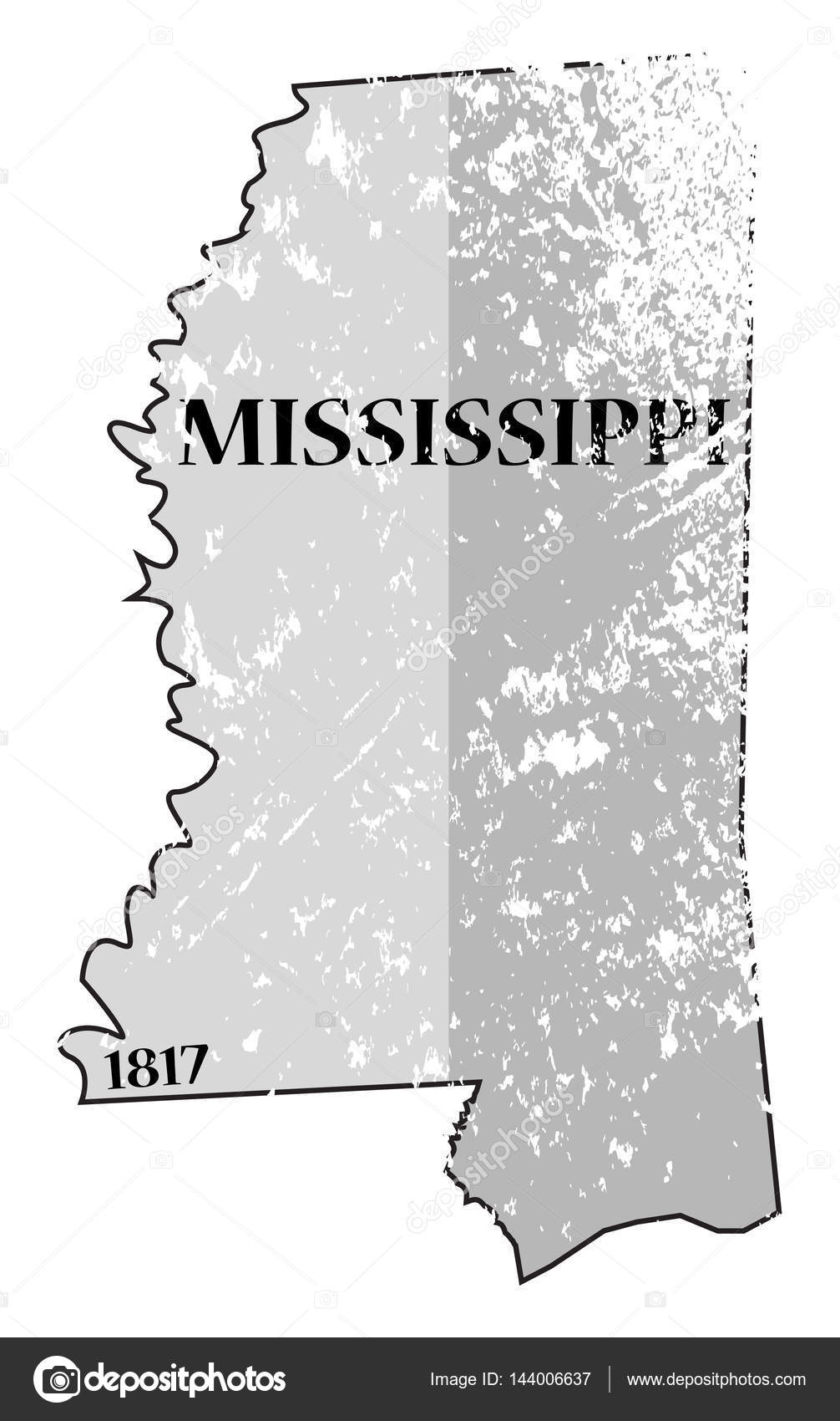 Mississippi State Map Outline.Mississippi State And Date Map Grunged Stock Vector C Davidscar