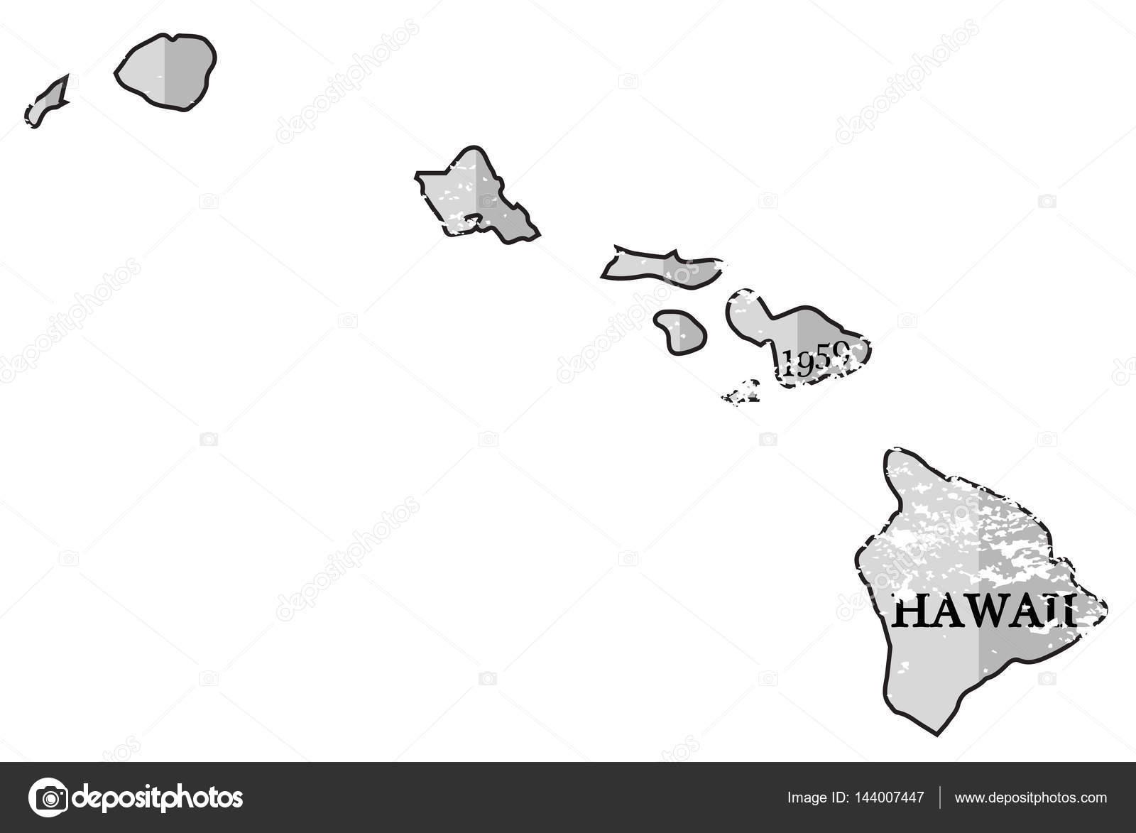 ハワイ州と Grunged 日マップ — ...