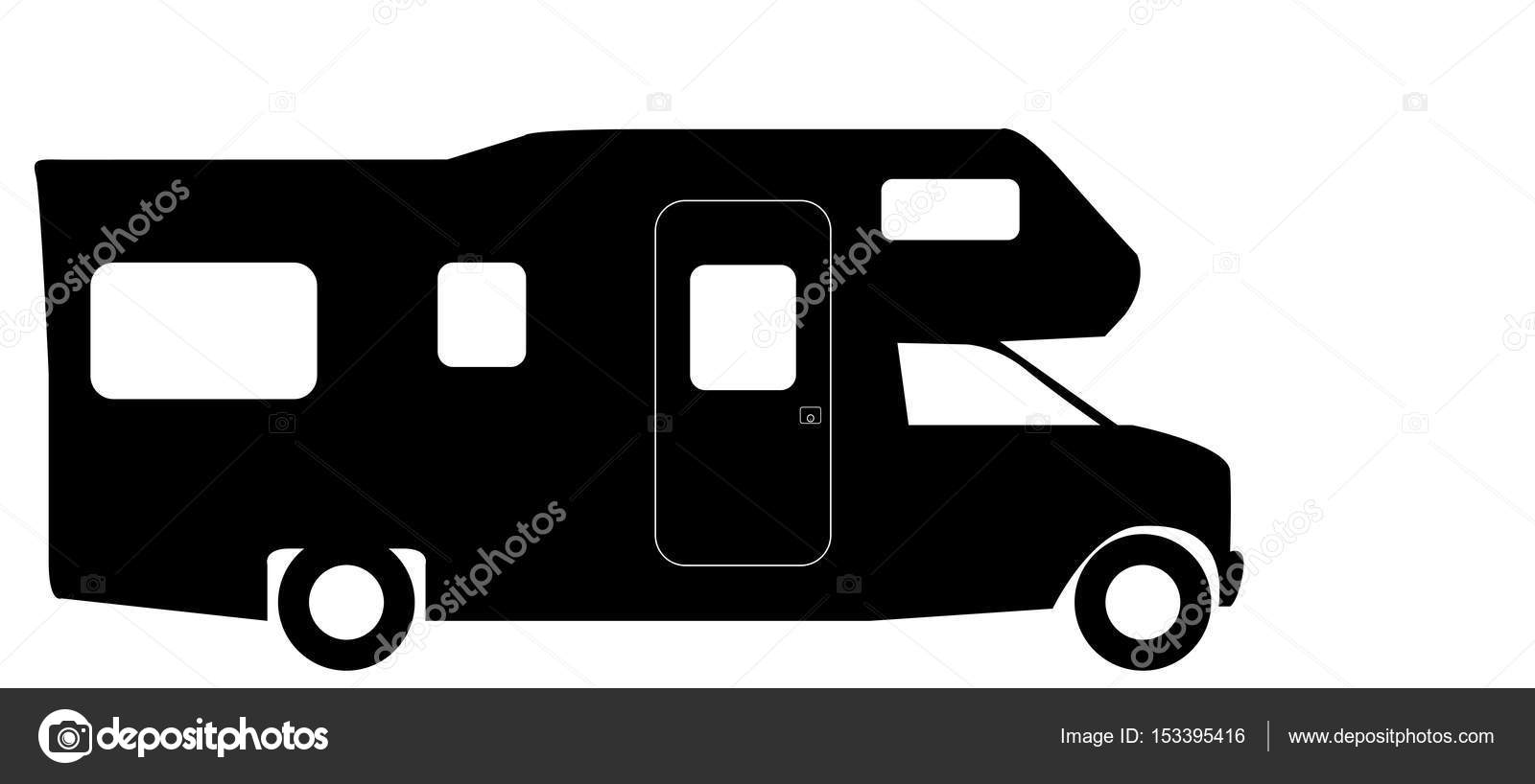 A Retro Rv Camper Van Silhouette Isolated On White Background Vector By Davidscar
