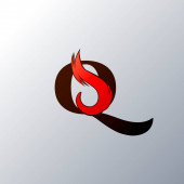Anfangsbuchstabe Q Fire Flame im Art-Style-Logo-Design-Vorlage