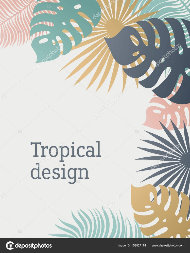 Tropical Leaf Template In Pastel Colors Summer Design With Exotic Palm Leaves Monstera
