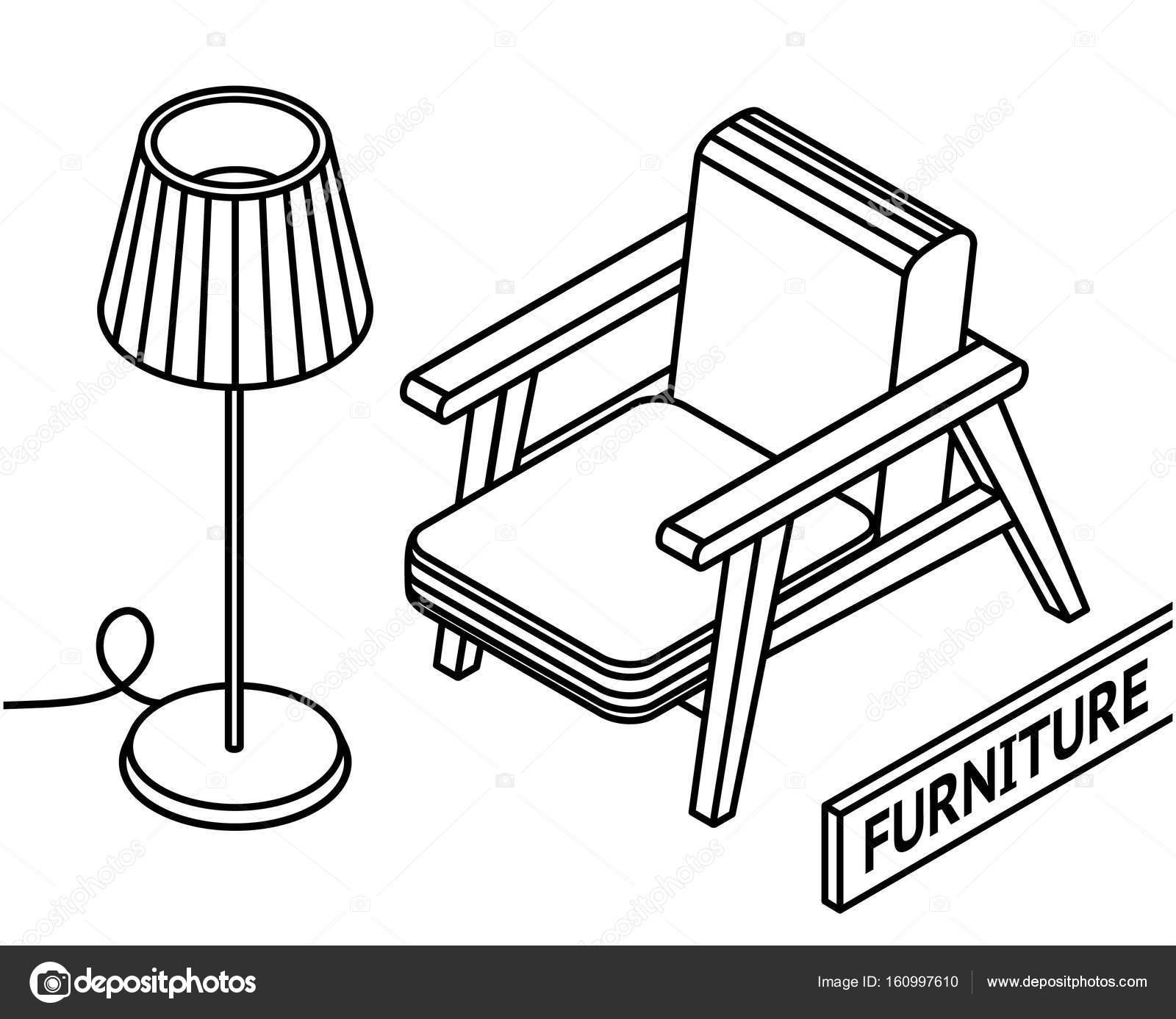 Muebles esquema isométrico. trazar línea 3D isométrico sillón y ...