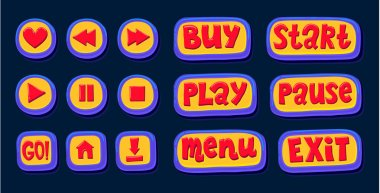 Hand drawn 3d web buttons for the player. Like, rewind, play, pause, stop. internet button set color