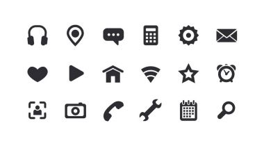 Monochrome icons for the Web. Full set.