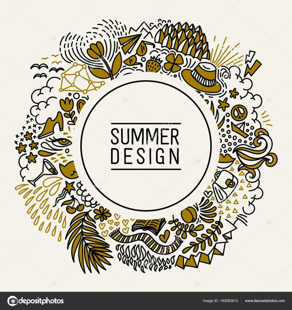 37331128980d Summer black and gold hand drawn round thin line postcard. Seasonal  greeting with word Summer. Doodle summer card with floral elements, flowers,  sun, bird, ...