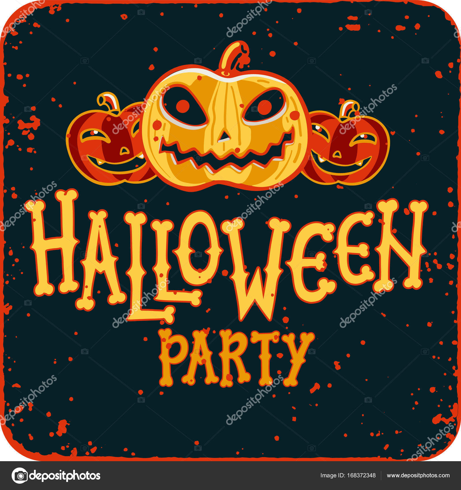 Invitation to Halloween night party. Vintage card with pumpkins on ...