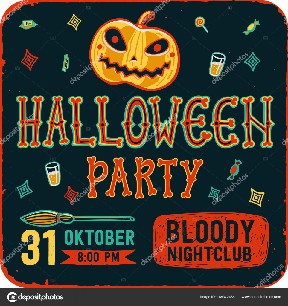 Invitation To Halloween Night Party Vintage Card With Pumpkins On