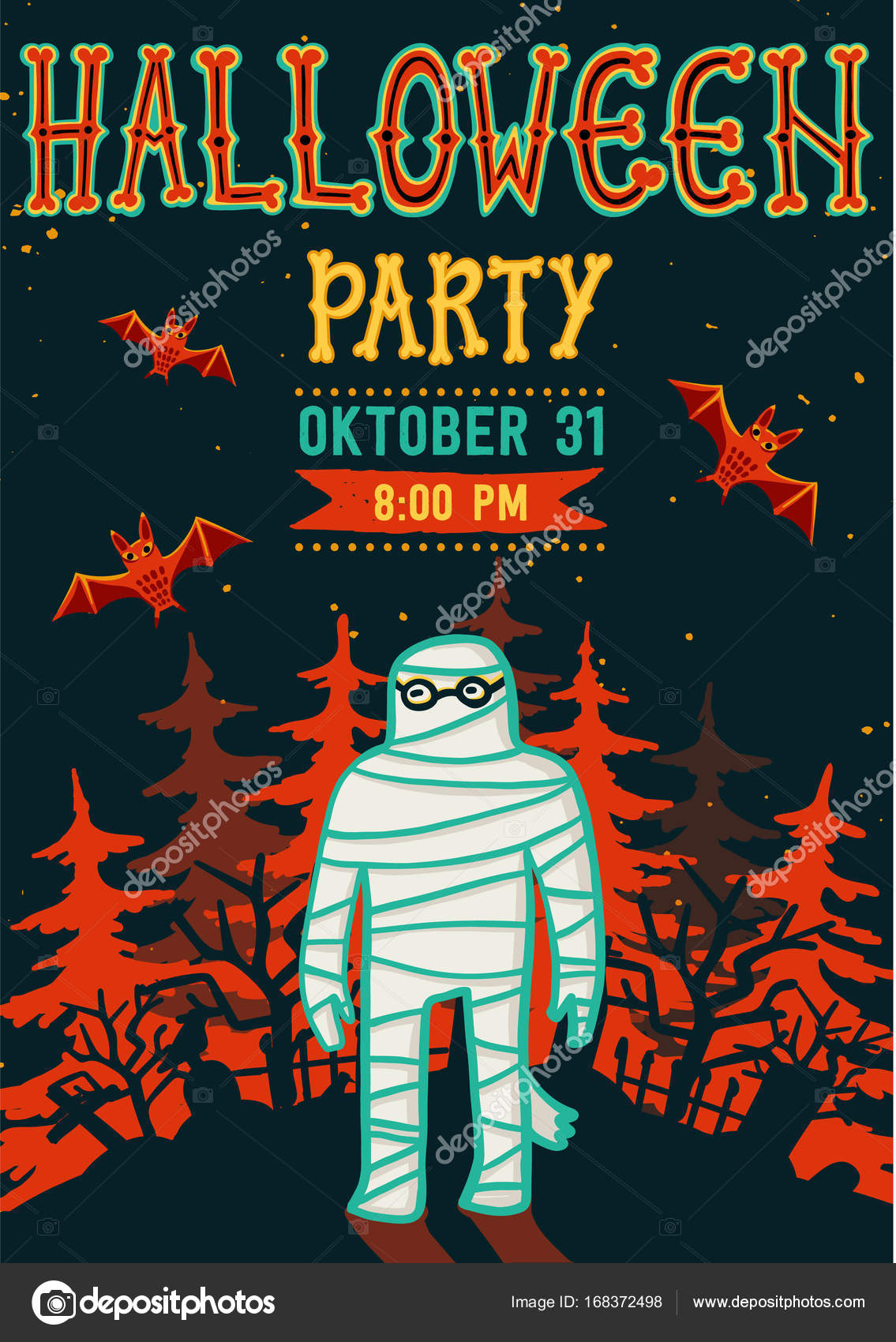 Invitation to Halloween night party. Vintage card with mummy. Vector ...