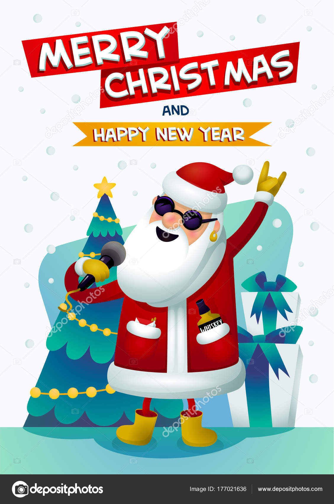 Buon Natale Karaoke.Immagini Buon Anno Rock Star Rock Fresco Santa Babbo Natale Canto