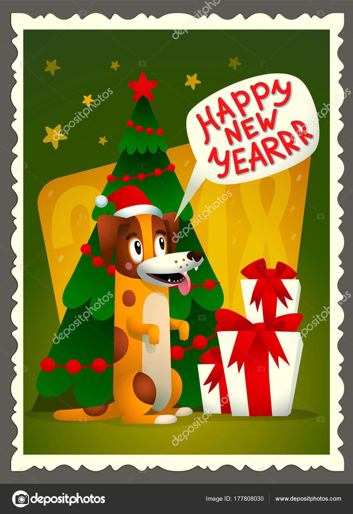 Frohes neues Jahr-Karte Vektor. Retro-Stil-Grußkarte mit niedlichen ...