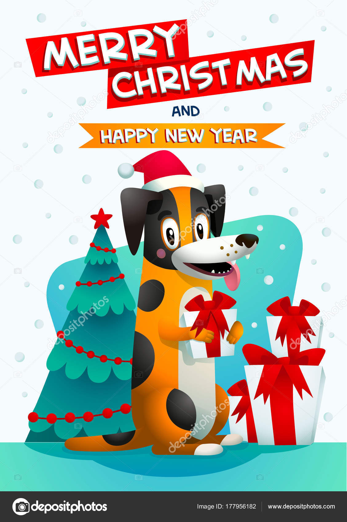 Cute Dog With Merry Christmas And Happy New Year Inscription