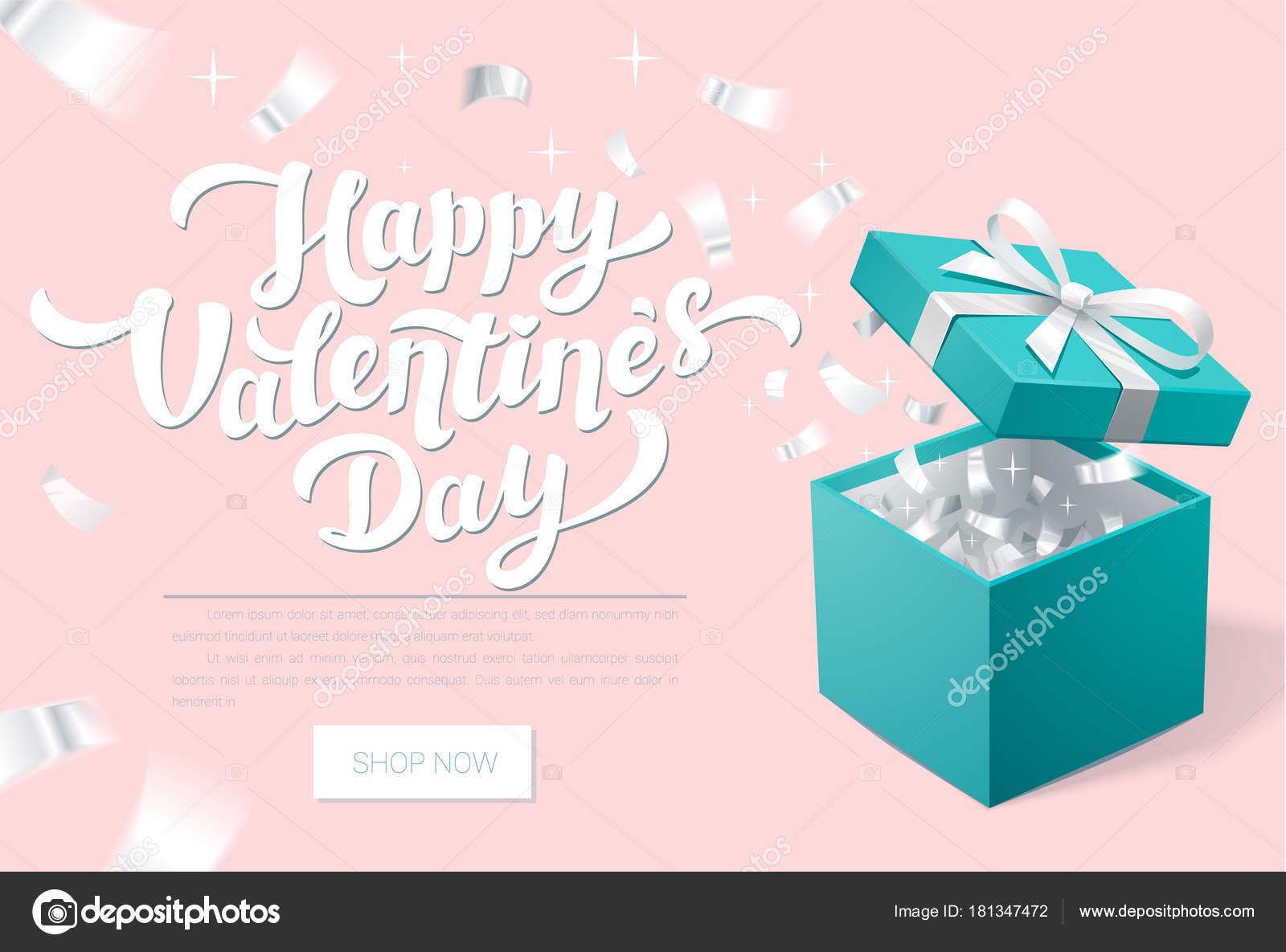Valentinstag Promo Banner mit offenen Geschenkbox und Silber ...