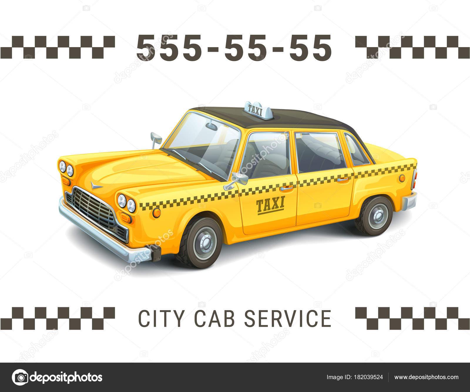 Modle De Service Taxi Illustration Dtaille La Voiture Jaune Sur Fond Blanc Bannire Carte Visite Affiche Ou Flyer