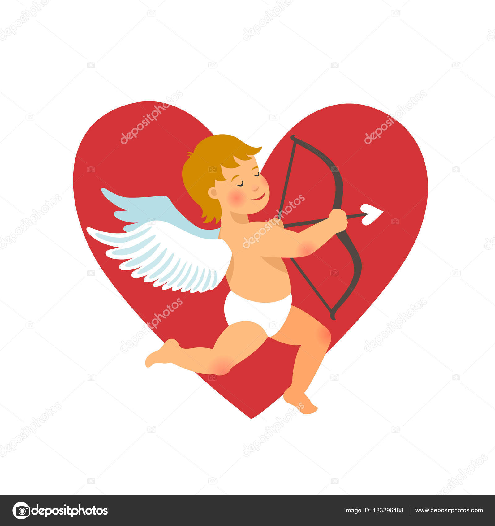Valentines Day Design Funny Cupid With Bow And Arrow On Red Heart