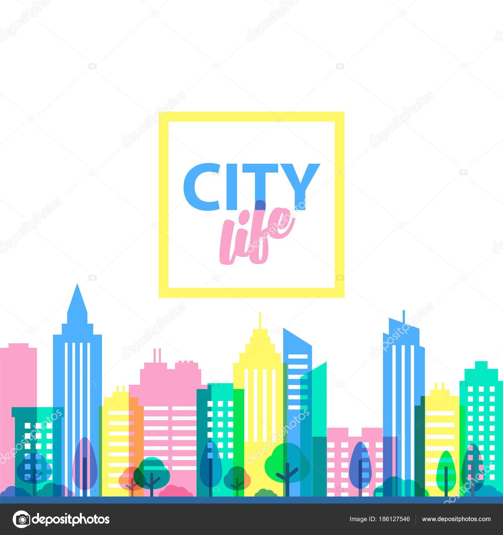Plantilla de paisaje de la ciudad. Ilustración de estilo plano en ...