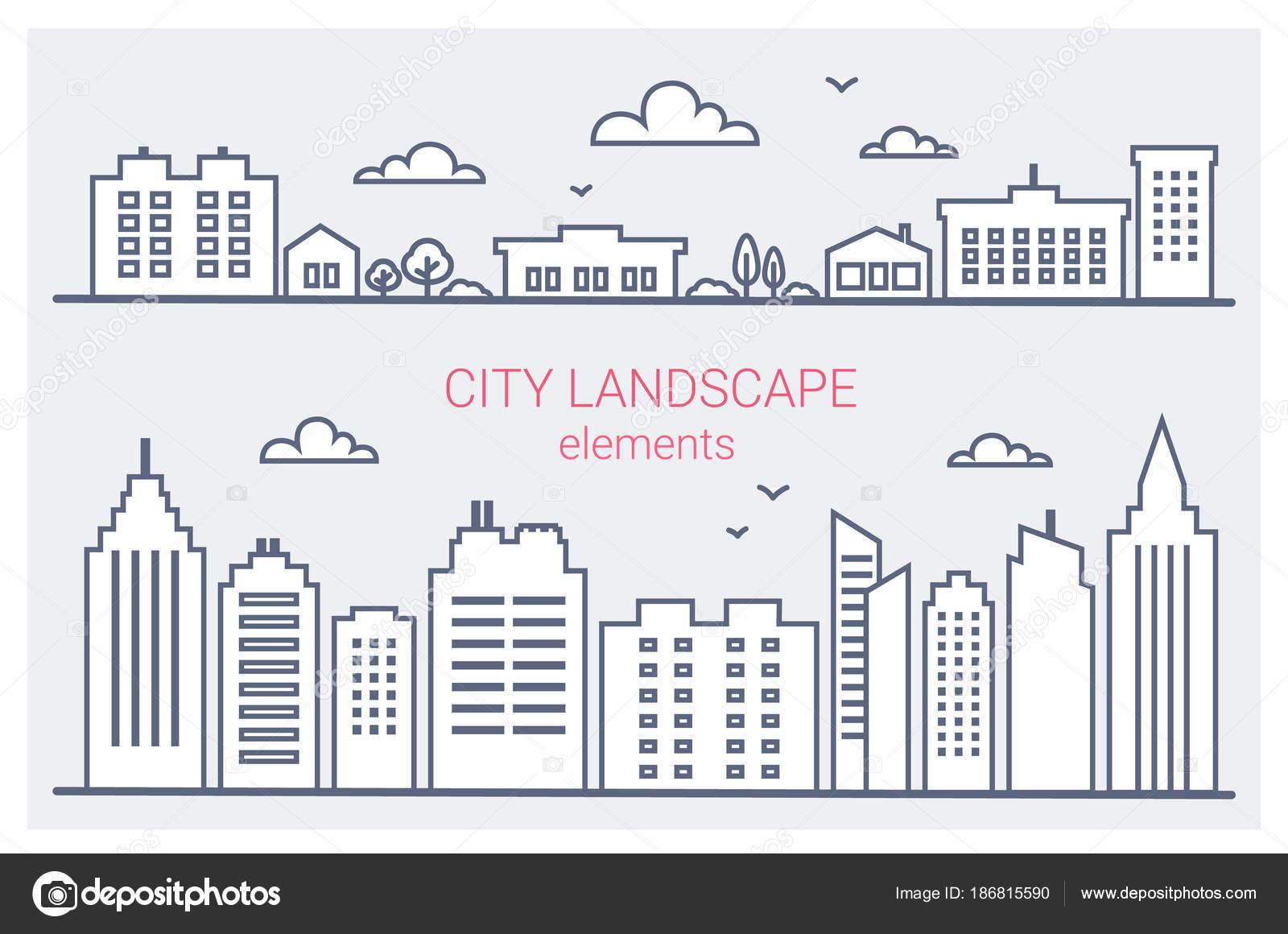 Conjunto de edificios de ciudad delgada línea. Centro de la ciudad ...