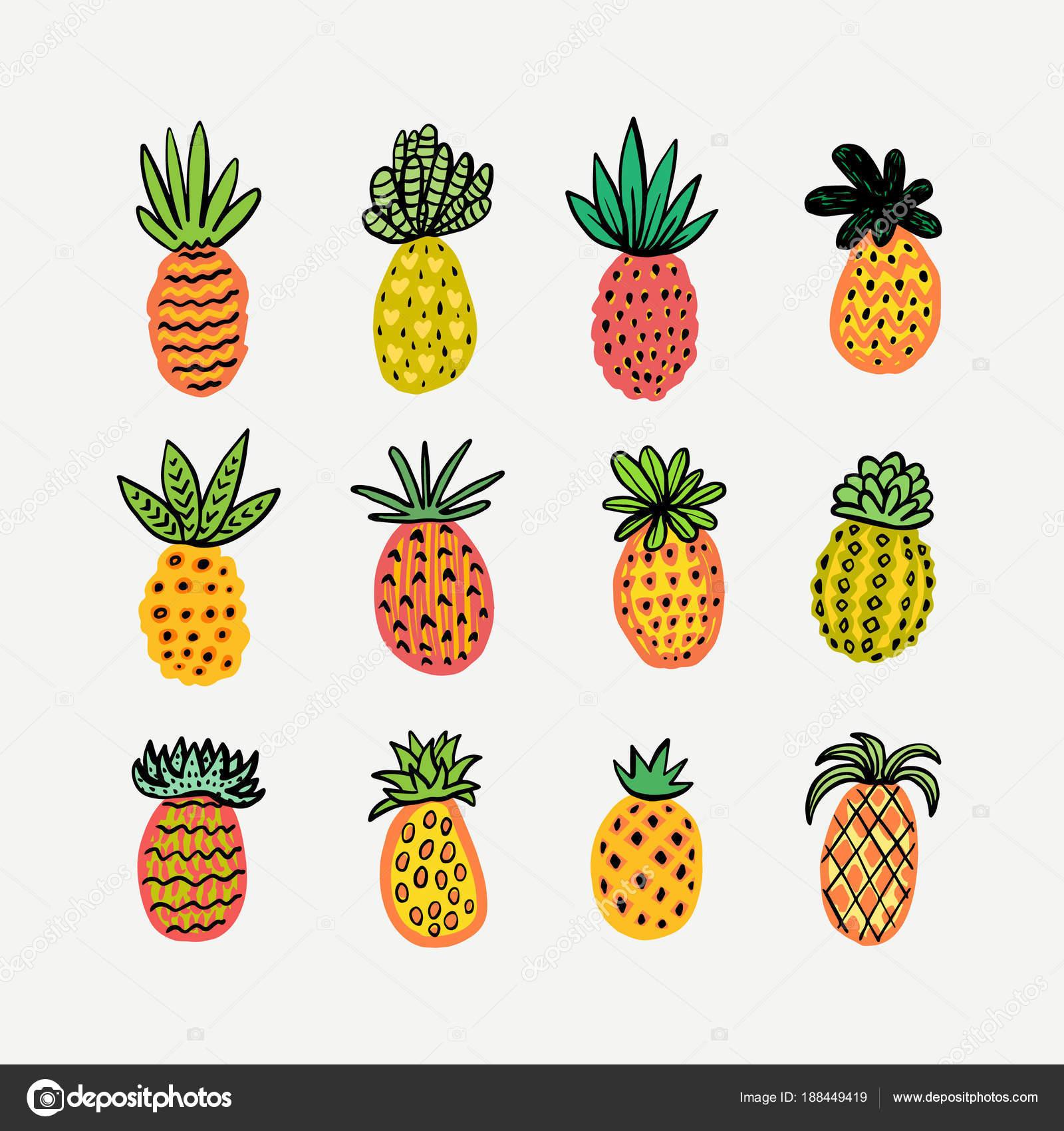 Satz von niedlichen sonnige Ananas. Handgezeichnete dekorativen ...