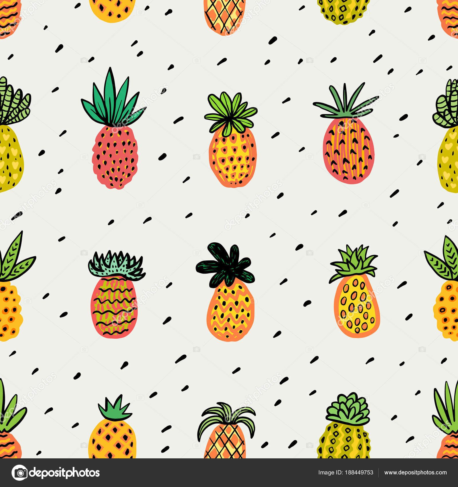 Nahtlose sonnige Ananas-Muster. Dekorative Ananas mit ...