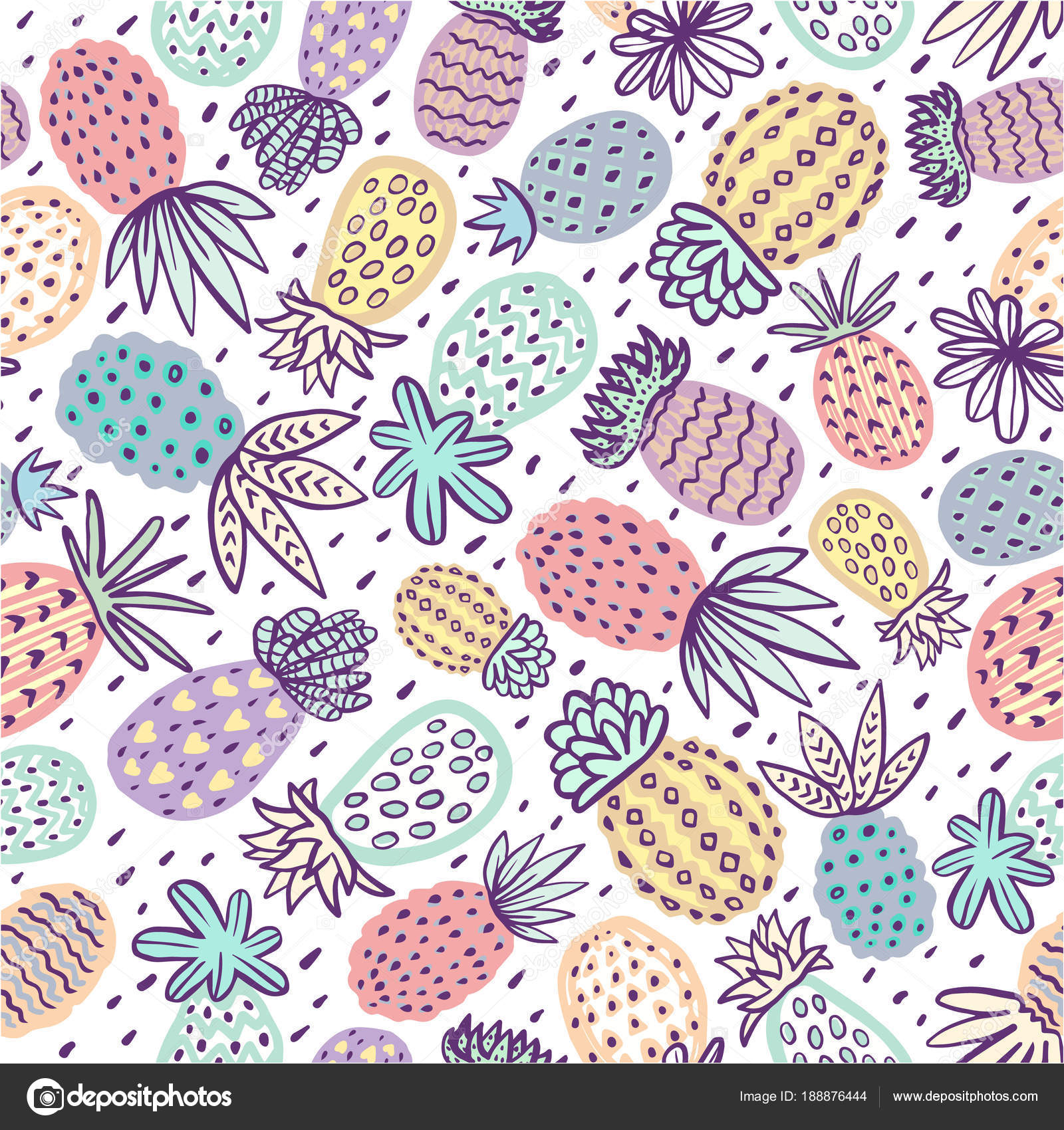 nahtlose ananas-muster. handdrawn pinapple mit unterschiedlichen