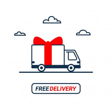 Free delivery Line icon. Thin line styled Delivery truck with bow isolated on white background. Delivery service Shipping by car or truck. outline style lorry with gift box, parcel.