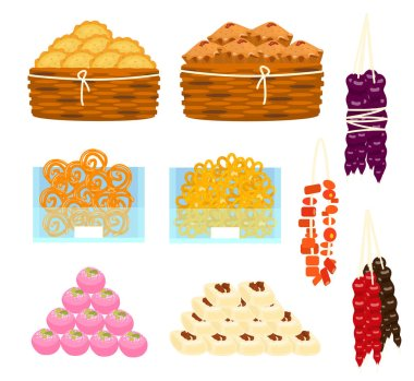 Big vector set of different Asian sweets in piramids, in baskets, in glass containers. Churchkhela, cakes, pies, laddu, gujiya, sandesh, jalebi, rasgulla and others.