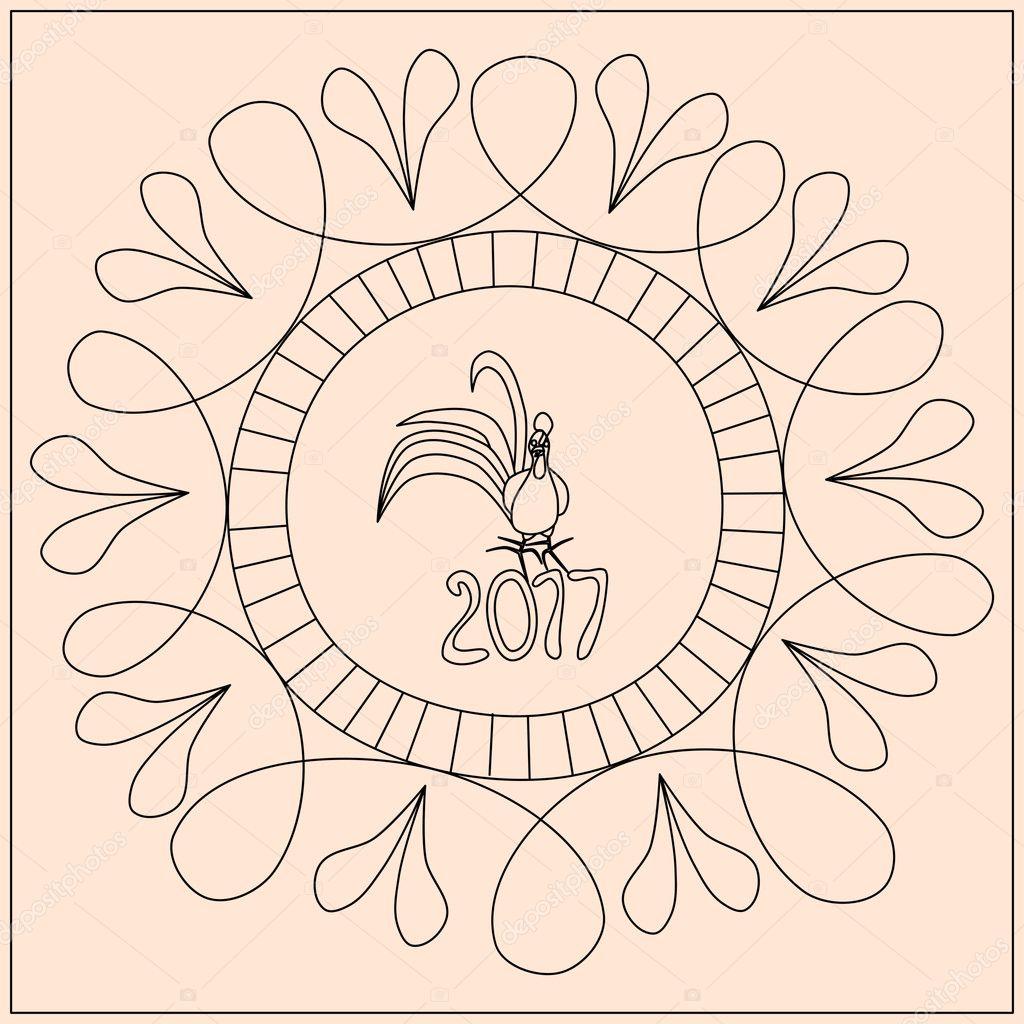 Coq Au Nombre 2017 En Zentangle Style Image Vectorielle