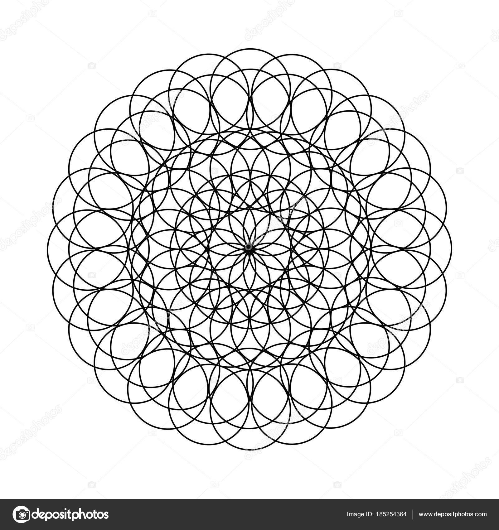 Mandala çiçek Boyama Kitabı Için Dairelerin Resmi Ile çizim Taklit
