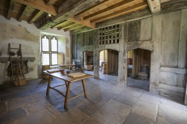 Medieval kitchen in Tretower Court, Powys, Wales, UK