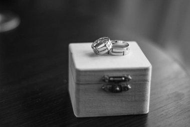 Wedding gold rings in a wooden box