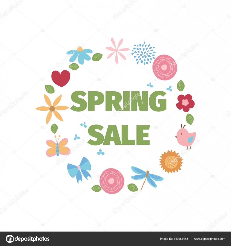Szablon Sprzedaż Wiosna Kwiaty I Ptaki Grafika Wektorowa