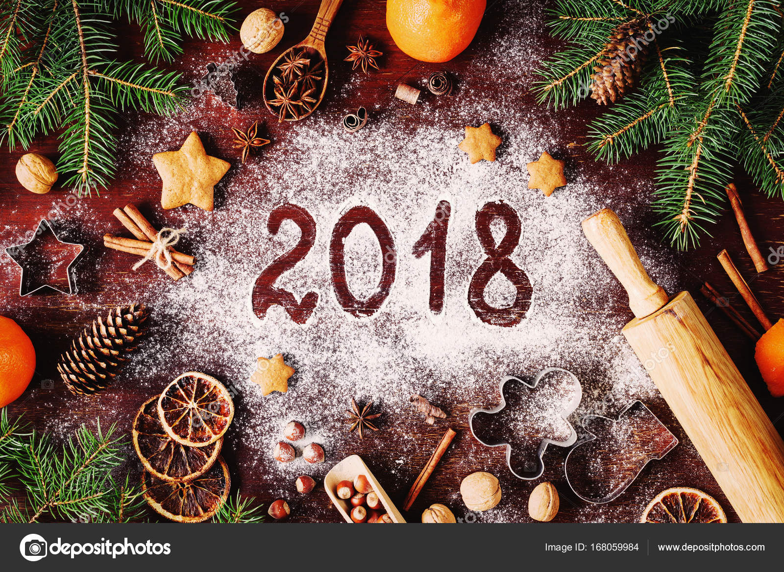 2018 happy new year merry christmas decorations background stock photo