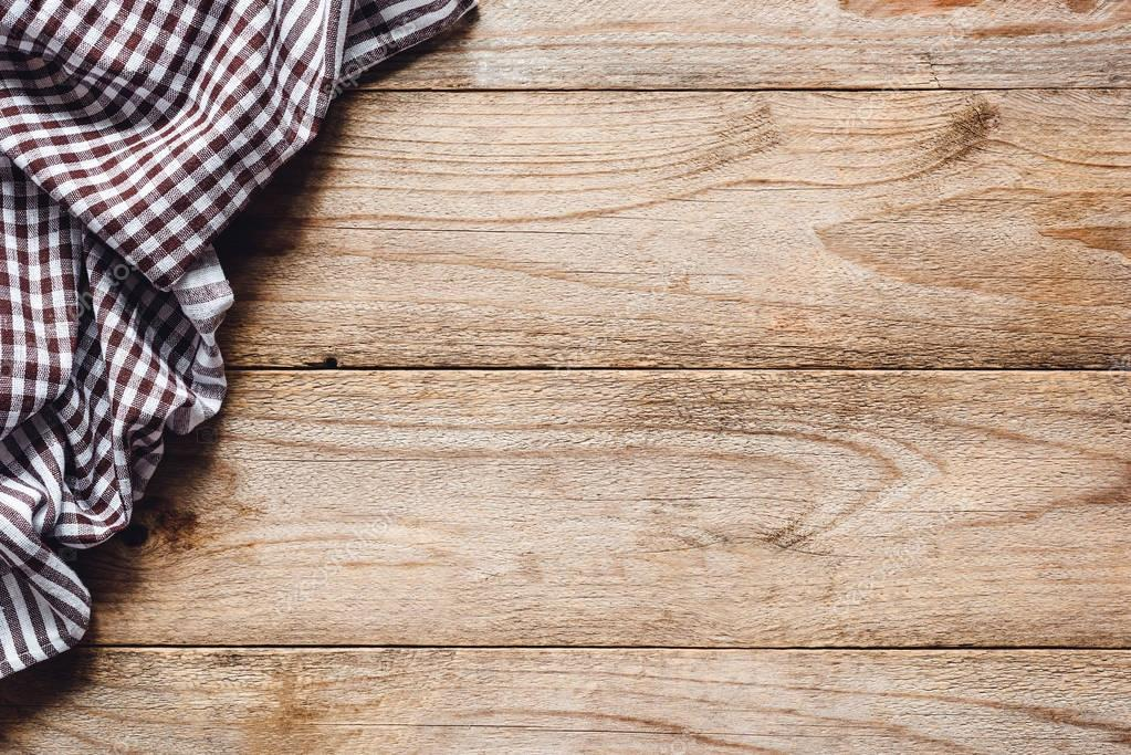 Wooden Table Background With Textile Food Background