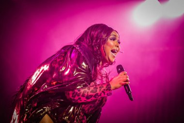 AMSTERDAM, NETHERLANDS - NOVEMBER 18, 2019: Amazing Lizzo performing at show at AFAS Live concert hall.